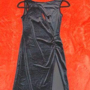 Lily Velvet Slash Front Thigh Split Midi Dress